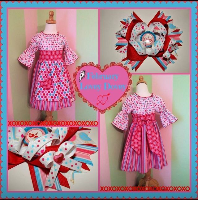 Example of Dress & Bow of the Month Clubs for February 2014