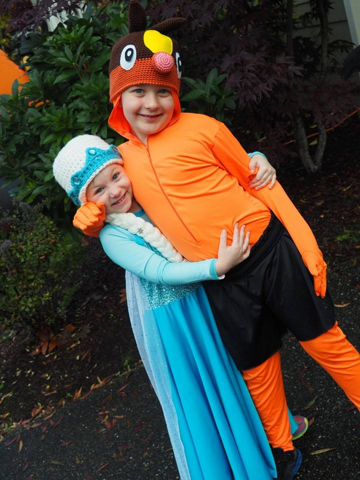 Child's Queen Elsa and Pokemon Tepig costumes
