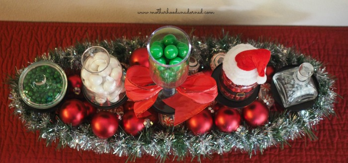 Upcycled Candle Holder turned Holiday Candy Display