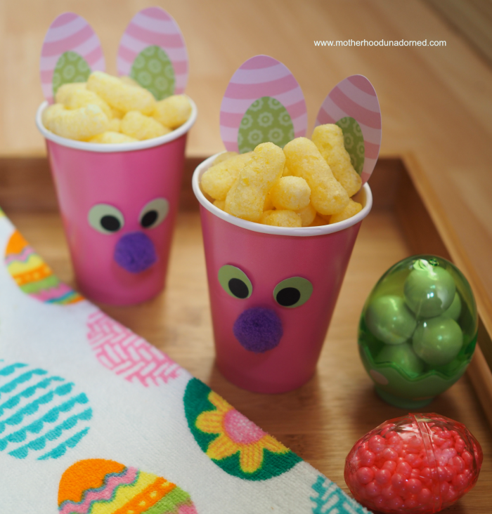 Bunny Snack Cups fill with snack of choice