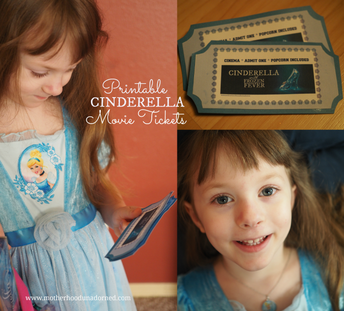 Cinderella and FROZEN Fever Printable Movie Tickets Movie Night Party Ideas