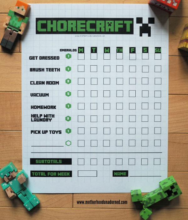 Minecraft Inspired Chorecraft Printable Game #CleaningUntangled #ad