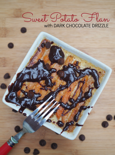 Sweet Potato Flan with dark chocolate drizzle made with all natural Alexia fries #SpringIntoFlavor #ad