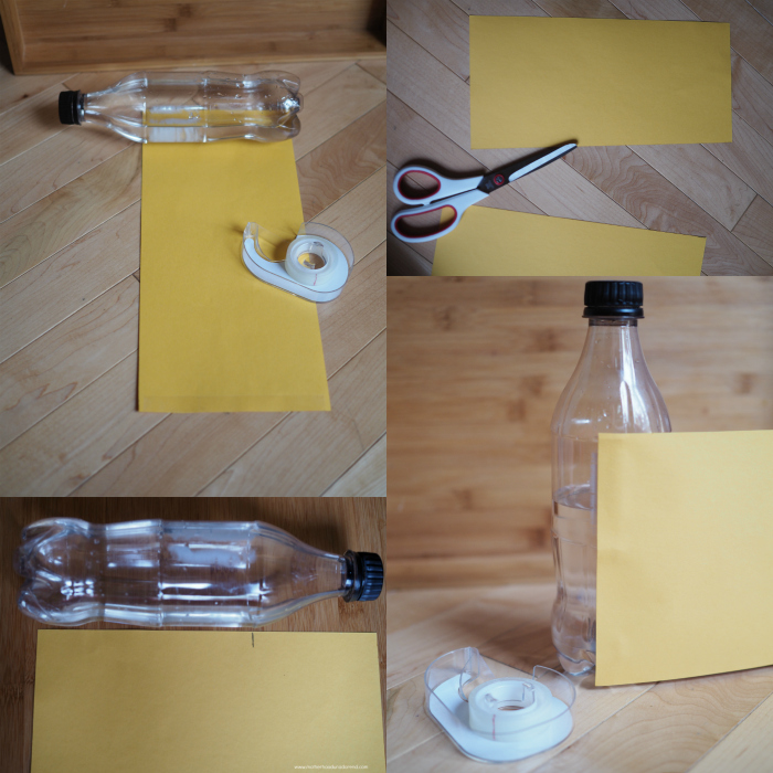 Cover soda bottle with yellow paper
