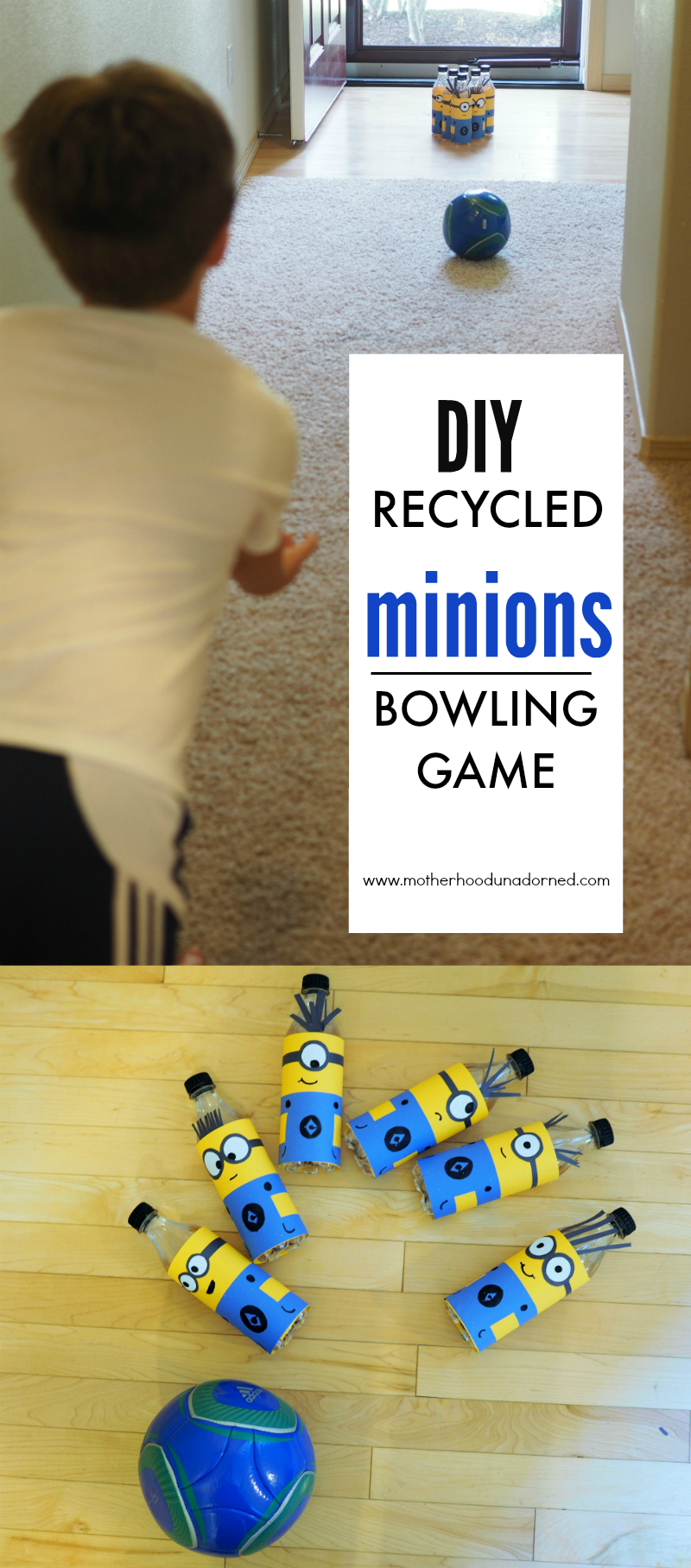 DIY Minions Bowling Game made with recycled soda bottles