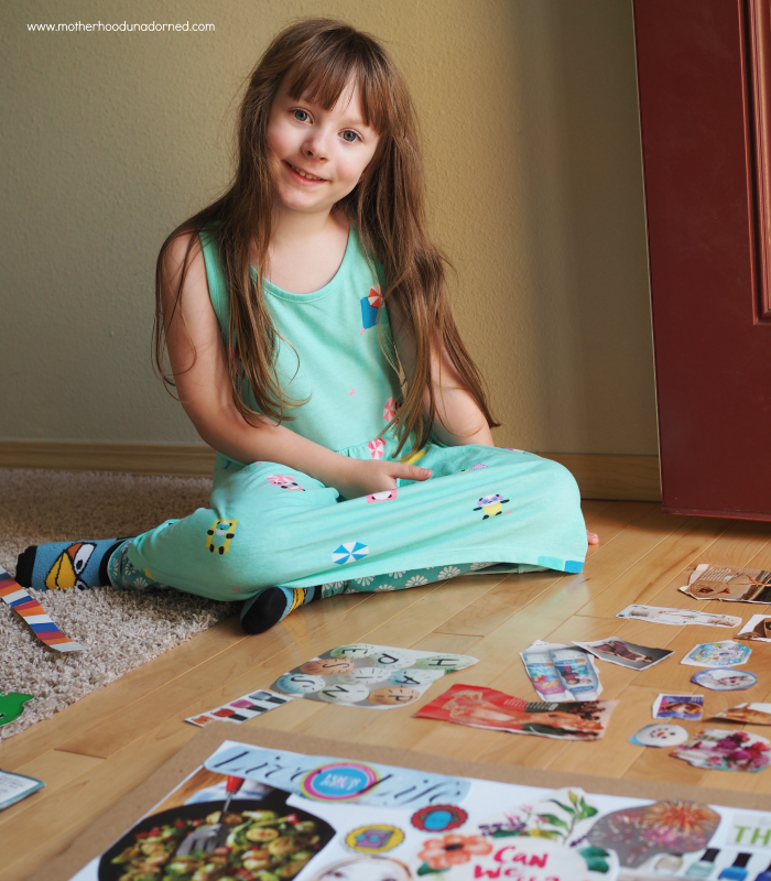 Tape down the clippings to your vision board easy to do with kids #ProjectAmazing AD