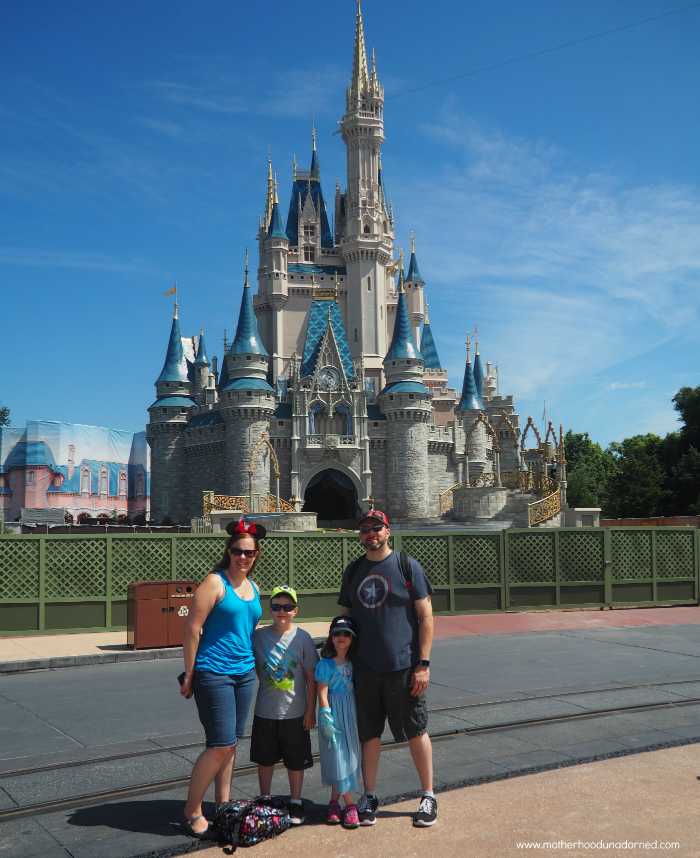 Our family in front of Cinderella's Castle Disney World