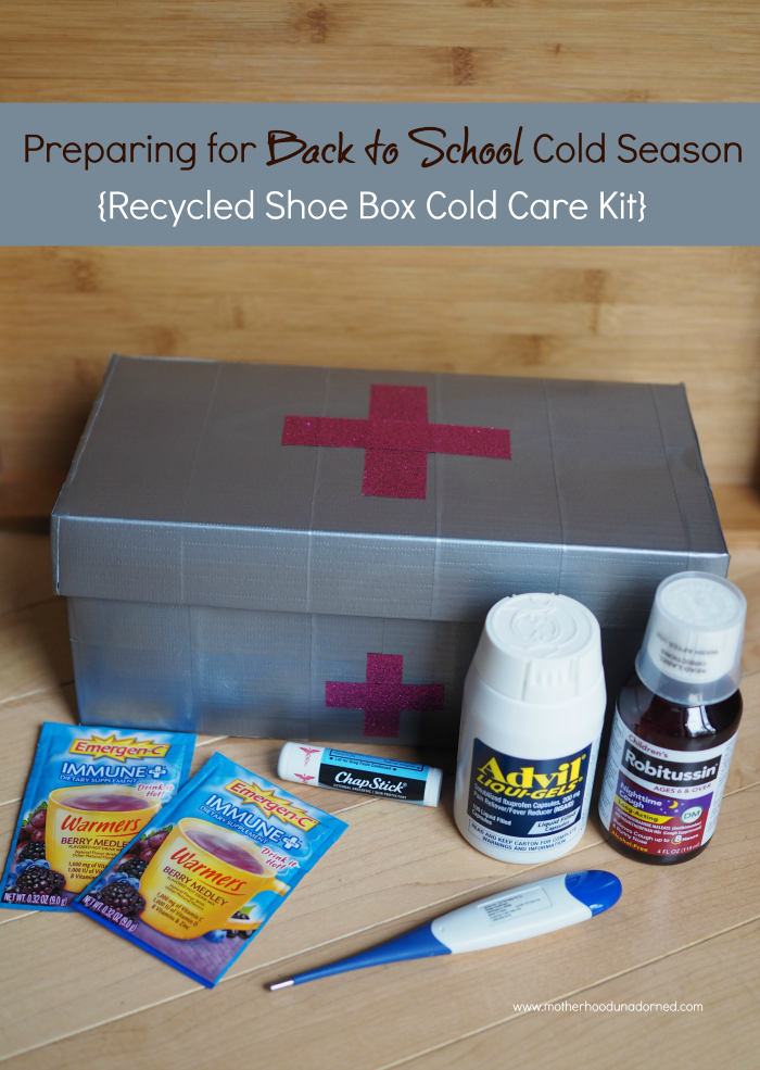 Preparing for Back to School Cold Season Tips and a tutorial for this recycled shoe box and duct tape cold care kit medicine box #HealthySavings AD