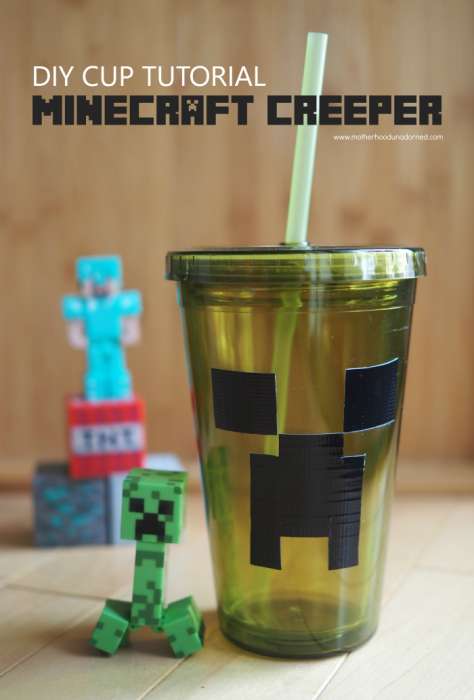 DIY Minecraft Creeper inspired cup tutorial birthday party ideas