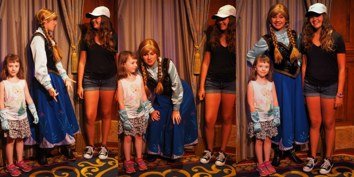 Ellie and Gracie meeting Princess Anna Disney World