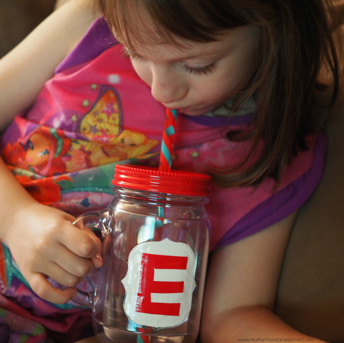 Ellie and personalized plastic mason jar with straw