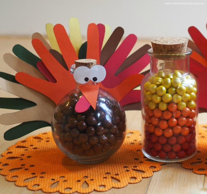 Hand Print Turkey Candy Jar Thanksgiving Craft