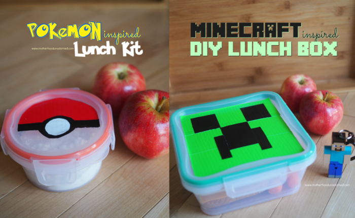 Snapware personalized with duct tape to look like a pokeball and minecraft creeper