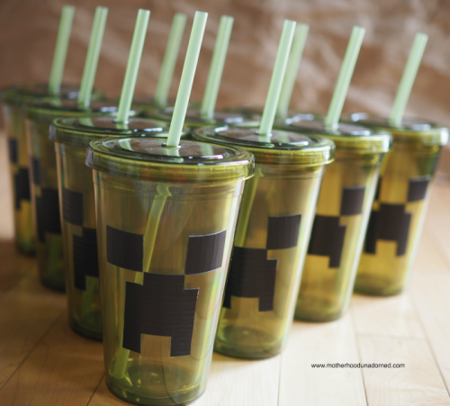 DIY Creeper drinking cups made with duct tape