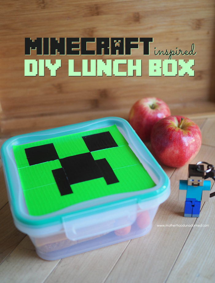 Minecraft Inspired Creeper DIY Duct Tape Lunch Box #SnapwareBTS #ad