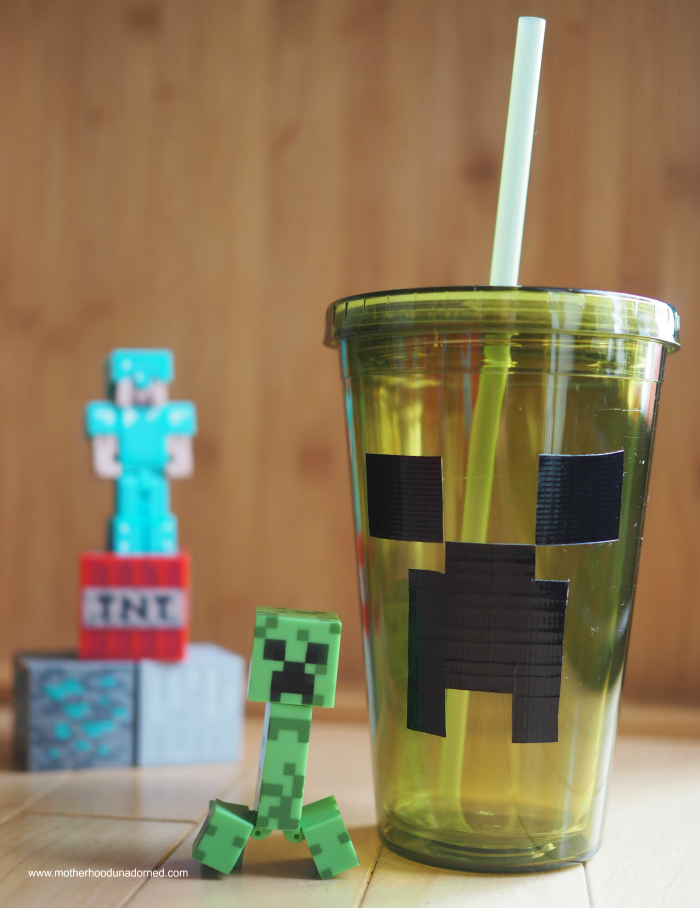 Minecraft inspired Creeper cup DIY with duct tape tutorial party idea