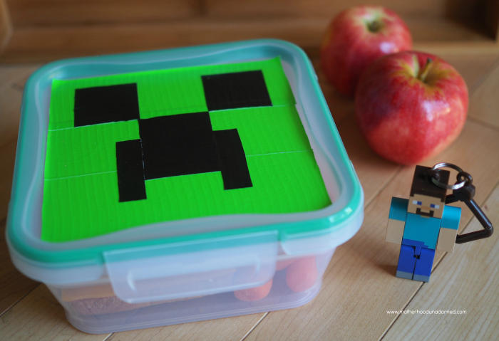 Minecraft lunch DIY duct tape snapware