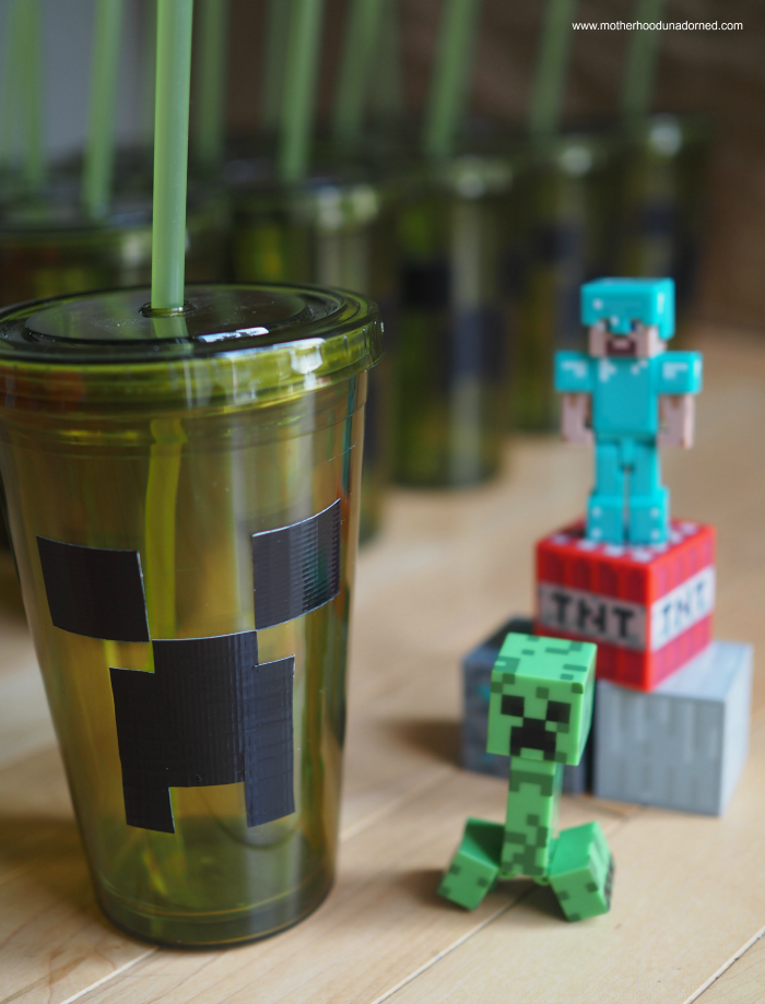 Minecraft party idea DIY Creeper drinking cup tutorial with duct tape