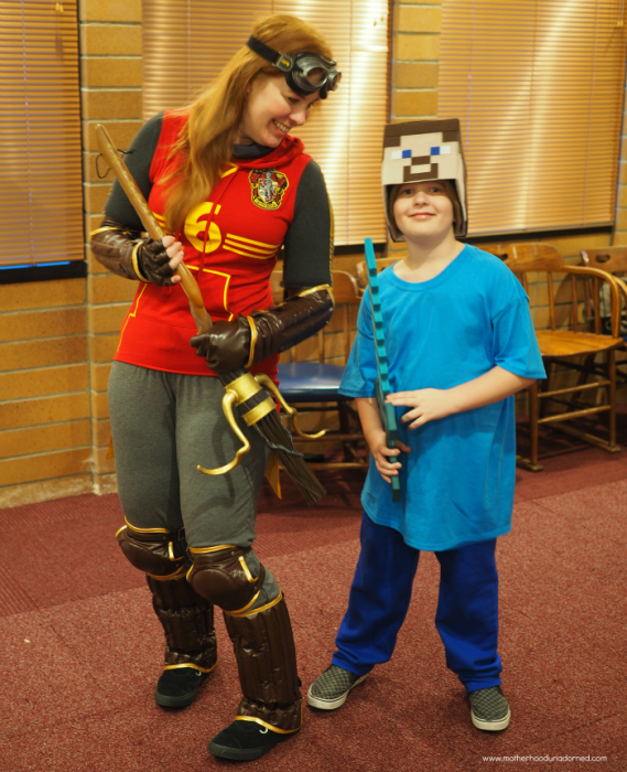 Ginny Weasley Playing Quidditch and Minecraft Steve costumes