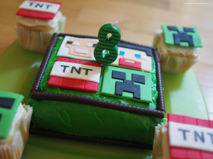 Minecraft Cake with Cupcake Toppers and Ovation Sticks