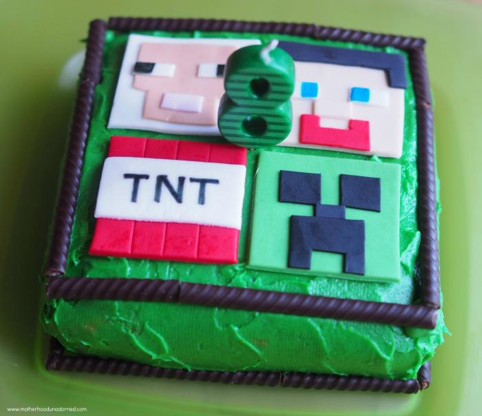 Minecraft Cake with Fondant Toppers and Ovation Sticks with Green Icing