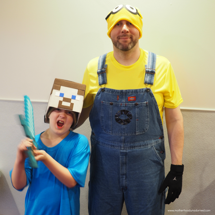 Minecraft Steve and Minions costumes