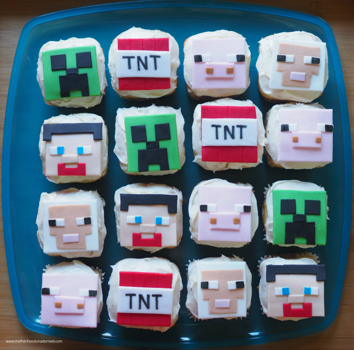 Square Minecraft Inspired Cupcakes