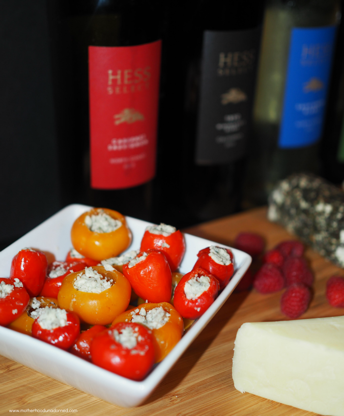 Peppadew peppers with blue cheese and Hess Collection Wines