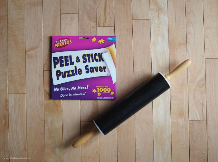 puzzle sticker and rolling pin