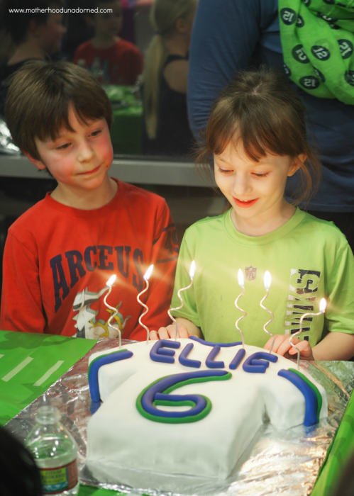 Ellie and her football jersey cake