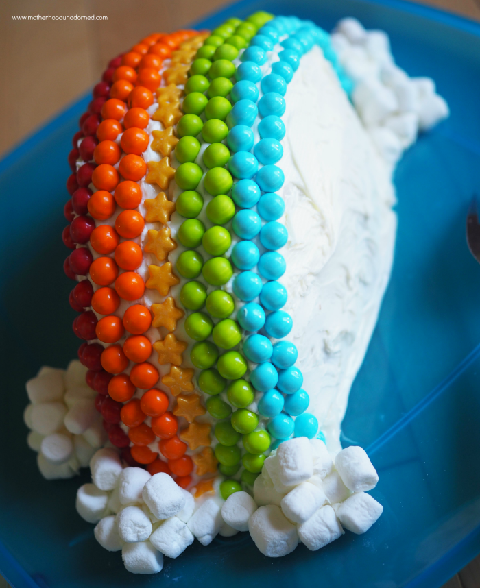Rainbow cake side view