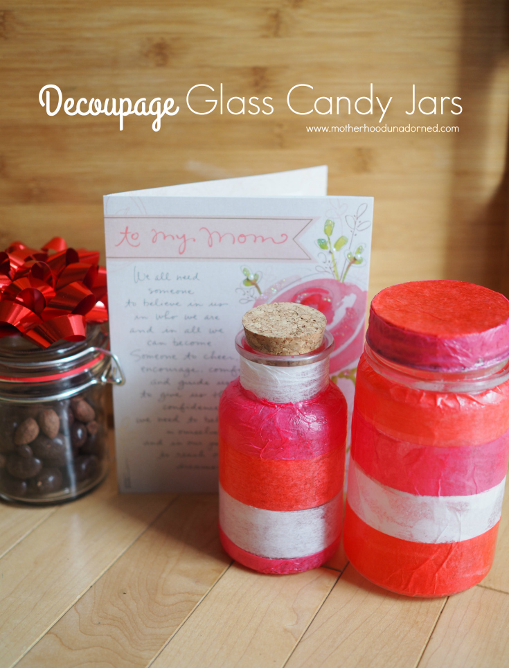 Decoupage glass candy jars