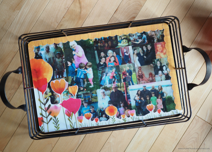 Decoupage photo memory tray