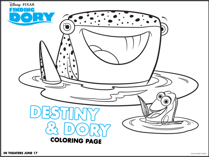 Finding Dory Destiny and Dory Coloring Sheet