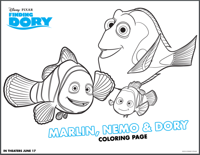 Finding Dory Marlin, Nemo and Dory Coloring Page