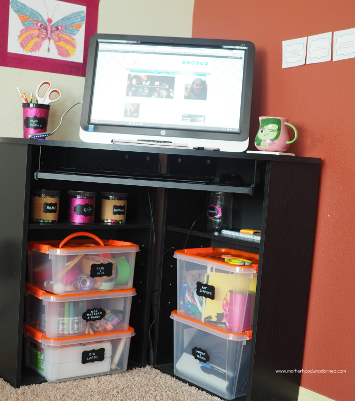 Small black corner desk with stackable storage
