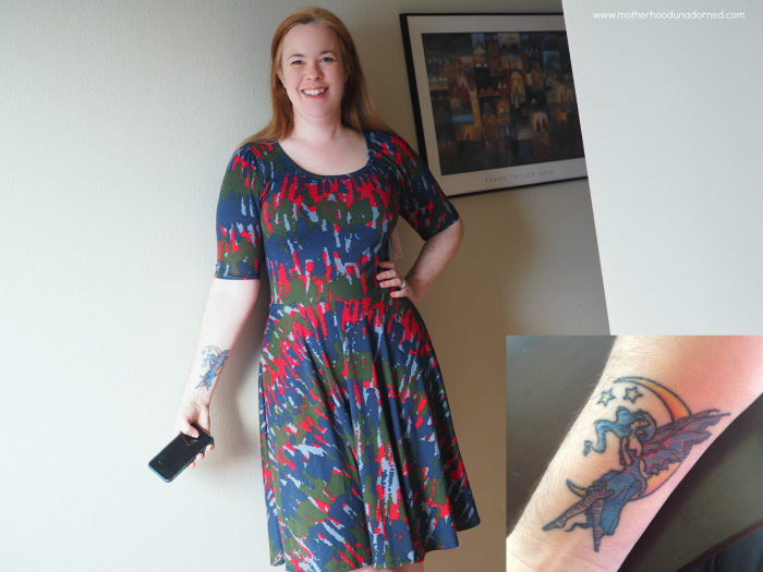 woman with fairy tattoo wearing Nicole Dress from Lularoe