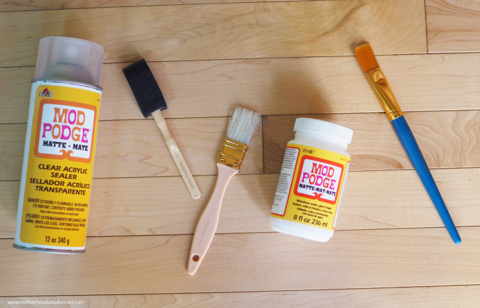 mod podge and paint brushes