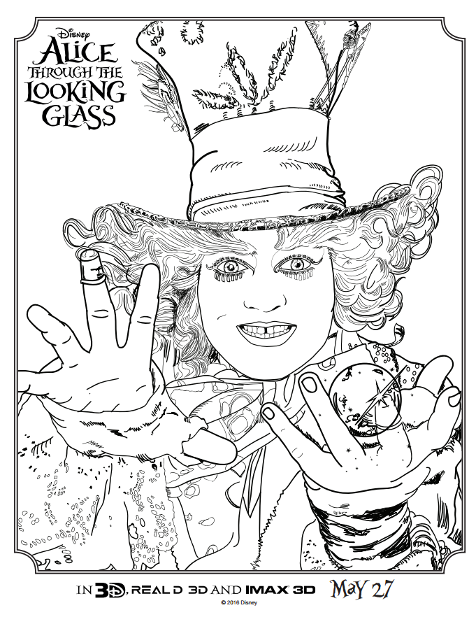 Alice Through the Looking Glass Coloring Sheet The Mad Hatter