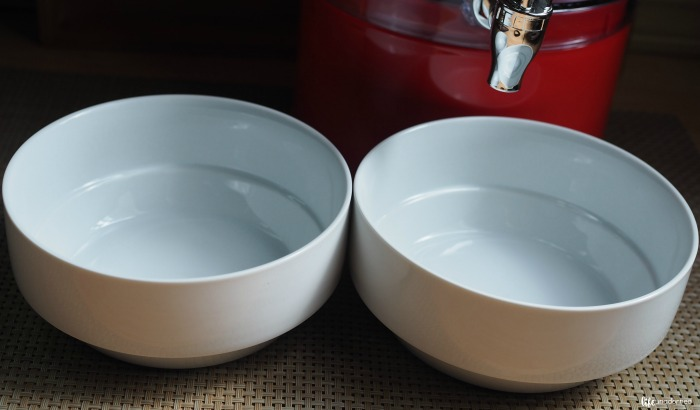 plain white bowls