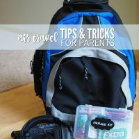 Air Travel Tips & Tricks for Parents plus tutorial for airplane emergency kit with free printable check list