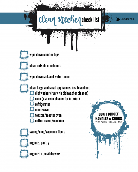 Clean Kitchen Check List Printable