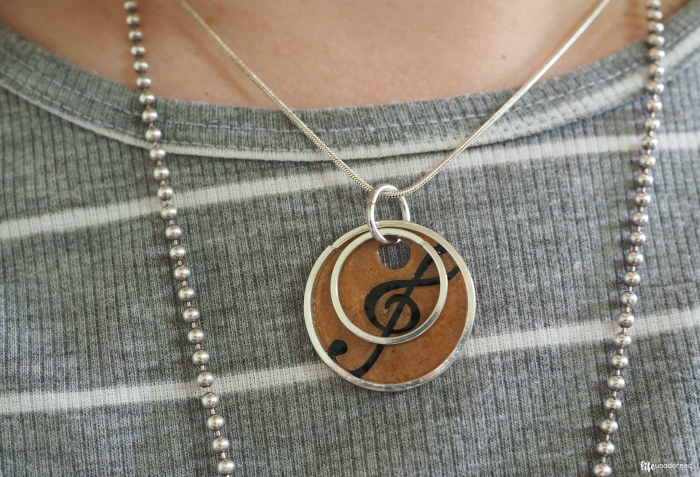 finished music themed necklace
