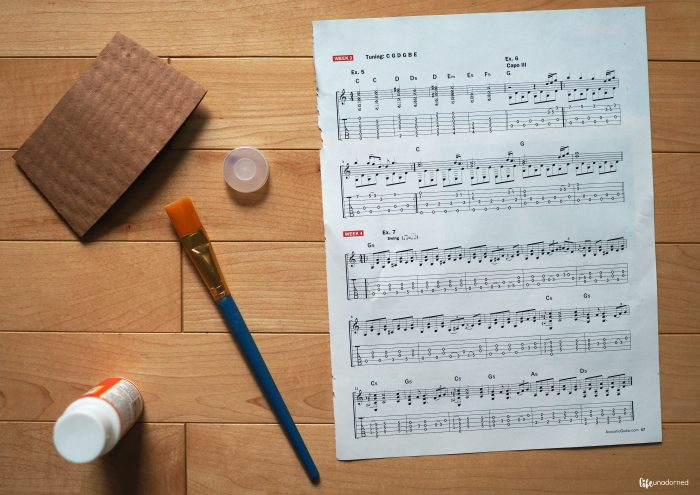 materials for sheet music jewelry tutorial