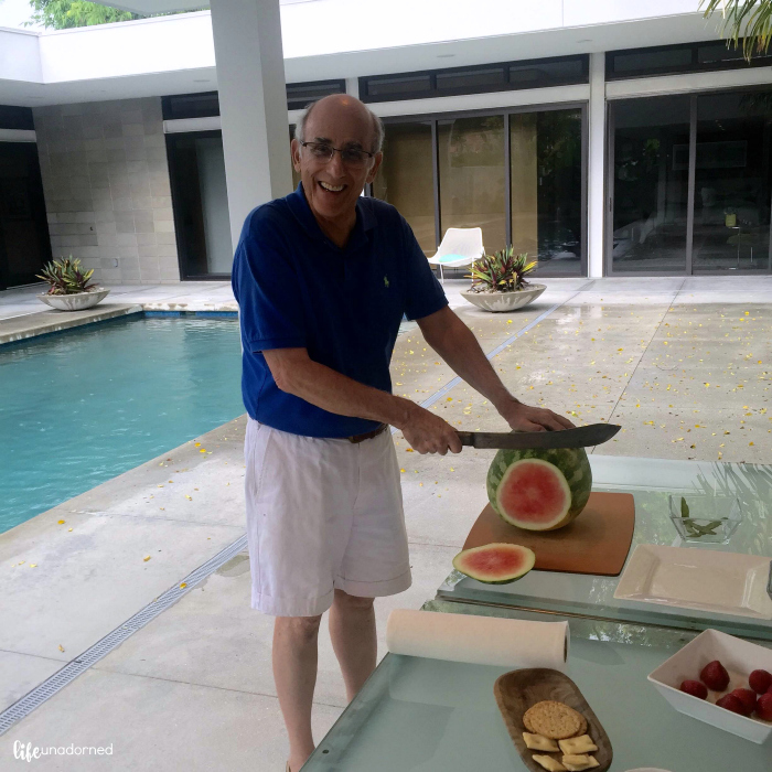 watermelon by the pool